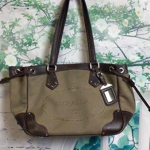 Prada fabric handbag w/leather trim
